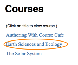 Vertical list of courses